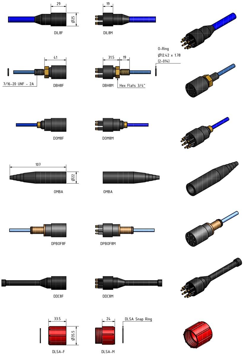 SubConn Ethernet Circular - 8 contacts