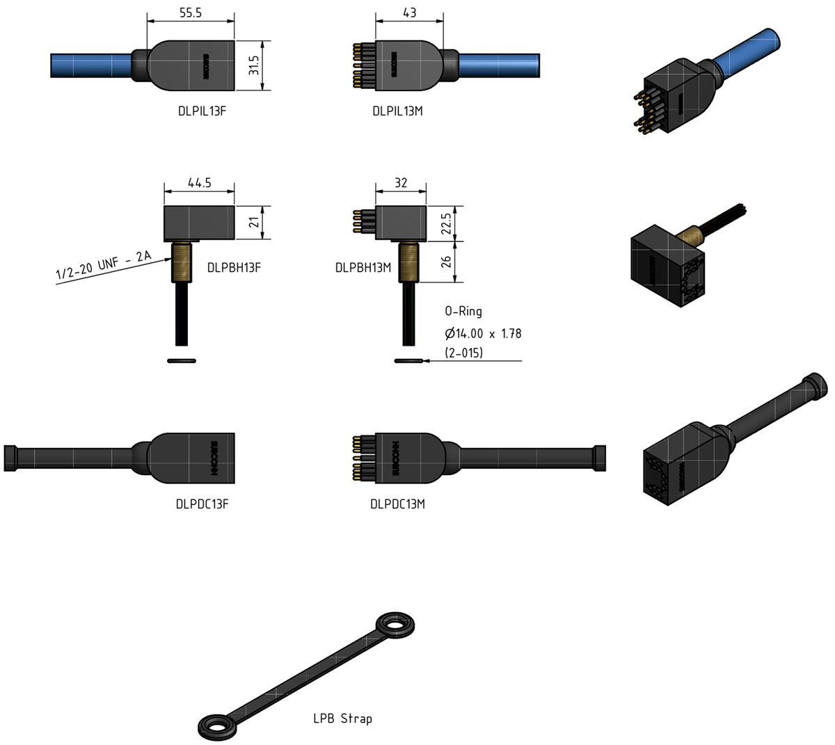 SubConn Power Ethernet Low Profile - 13 contacts